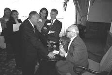 Utah state Sen. D. Chris Buttars talks with Nobel Laureate Milton Friedman