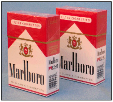 Graphic 23: A Real and a Counterfeit Pack of Name-Brand Cigarettes - click to enlarge