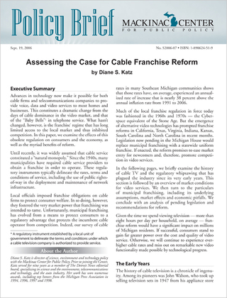 Assessing the Case for Cable Franchise Reform