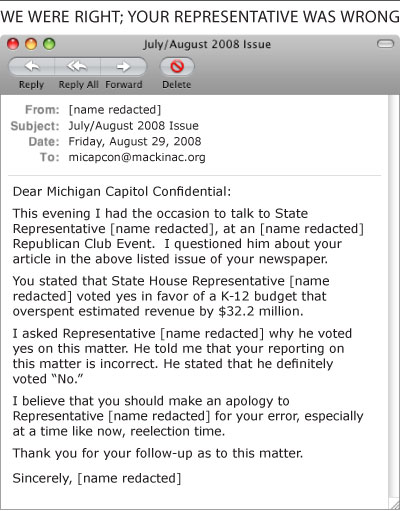 E-mail to Michigan Capitol Confidential - click to enlarge