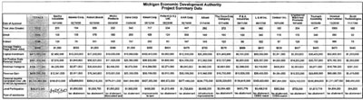 Graphic 11: 1998 MEGA Annual Report Summary Spreadsheet - click to enlarge
