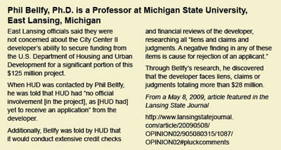 Dr. Phil Bellfy's research regarding East Lansing's City Center II - click to enlarge