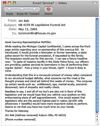E-mail from Jim Reb to Representative Tom McMillin - click to enlarge