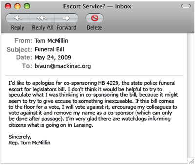 E-mail from Representative Tom McMillin to Jim Reb - click to enlarge