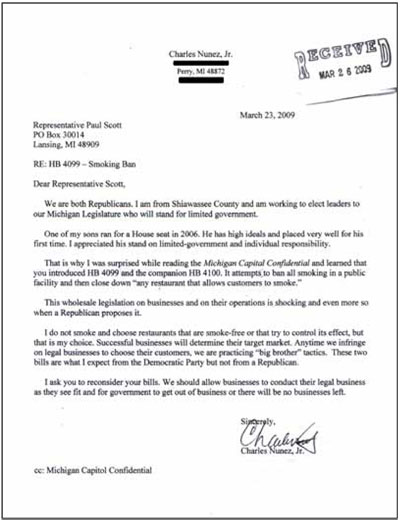 Letter from Mr. Charles Nunez to Representative Paul Scott - click to enlarge