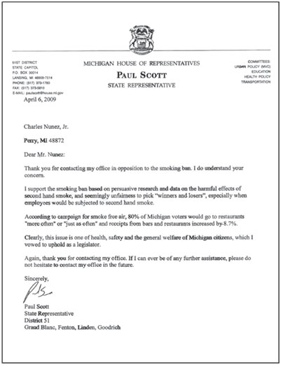 Letter from Representative Paul Scott to Mr. Charles Nunez - click to enlarge