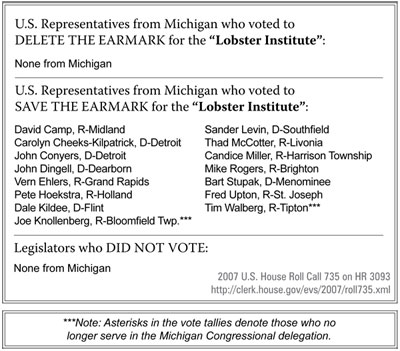 "U.S. Representatives from Michigan who voted to DELETE THE EARMARK for the ""Lobster Institute"" - click to enlarge"