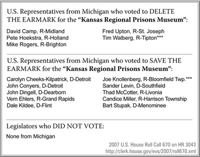 "U.S. Representatives from Michigan who voted to DELETE THE EARMARK for the ""Kansas Regional Prisons Museum"" - click to enlarge"