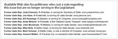 """Available Web sites for politicians who cast a vote regarding this issue but are no longer serving in the Legislature - click to enlarge"