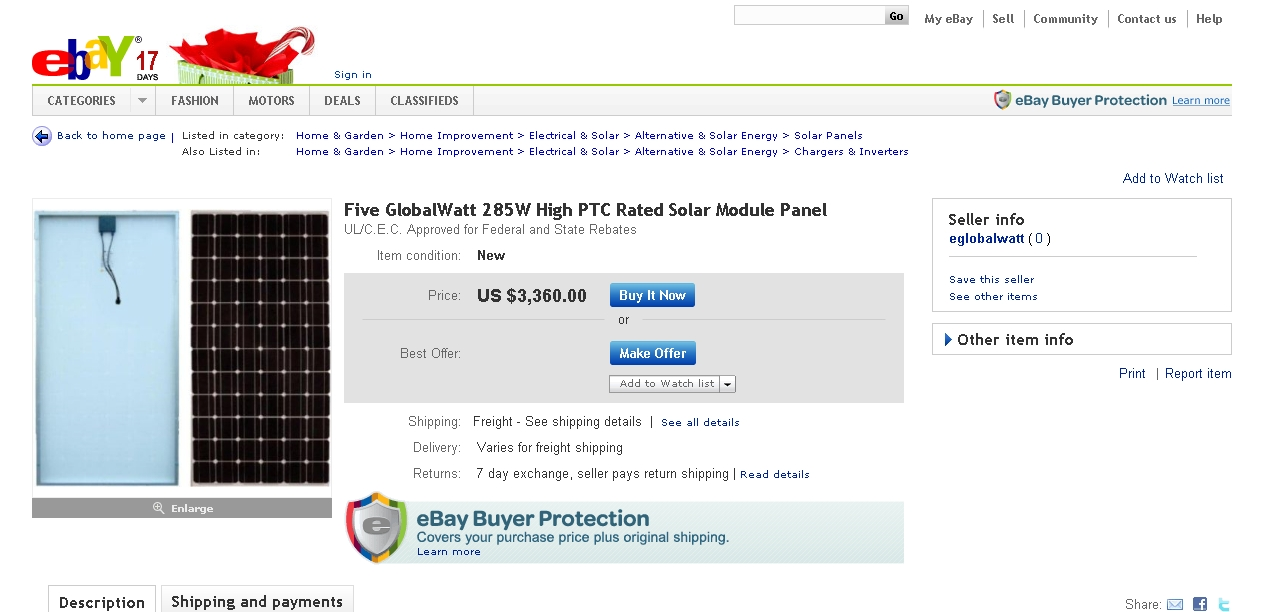 GlobalWatt Sells Someone Else's Solar Panels – on eBay