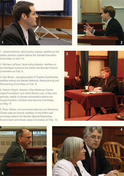 Mackinac Center staff testimony montage - click to enlarge