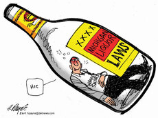 Henry Payne Cartoon - Michigan Liquor Laws