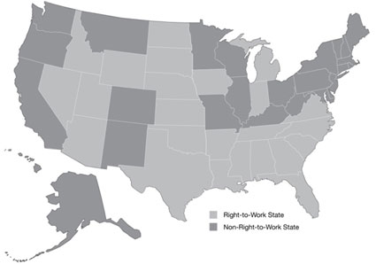 Graphic 1: States With Right-to-Work Laws, 2013 - click to enlarge