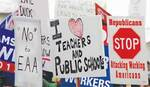 Right-to-work protest signs