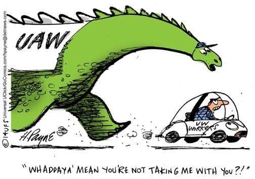 Henry Payne Cartoon - UAW Dinosaur VW