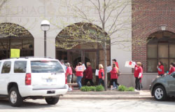 MEA members protesting in front of the Mackinac Center building