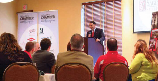 Joseph G. Lehman addresses Midland Area Chamber - click to enlarge