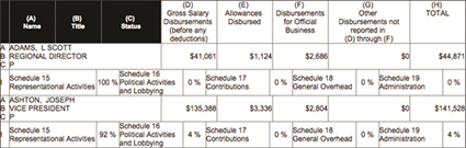 Graphic 5: Schedule 11, All Officers and Disbursements to Officers, from UAW LM-2, 2014 - click to enlarge