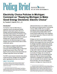 Cover: Electricity Choice in Michigan