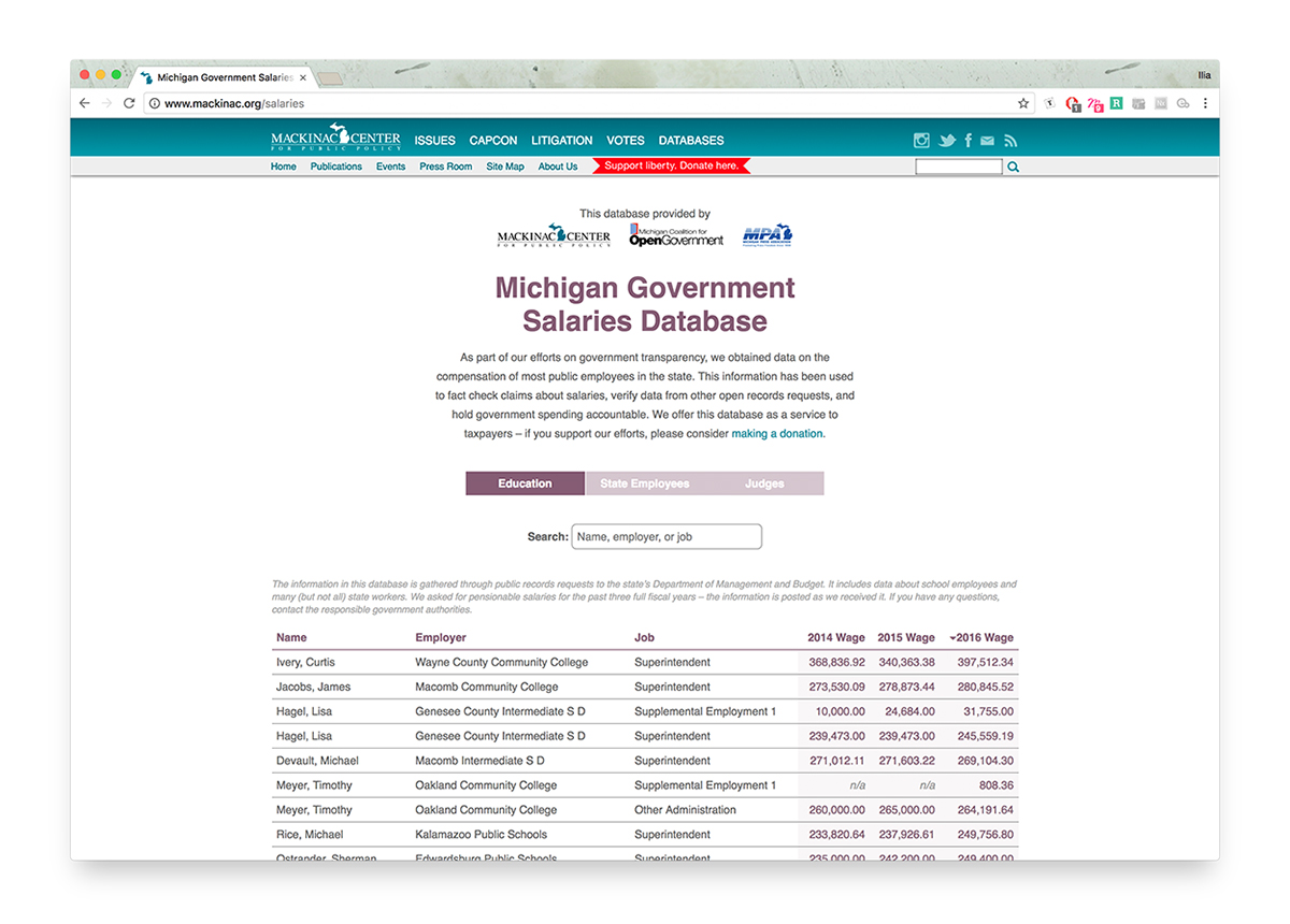 Michigan Government Salaries Database Shows Value of