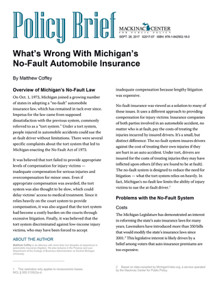 What's Wrong With Michigan's No-Fault Automobile Insurance