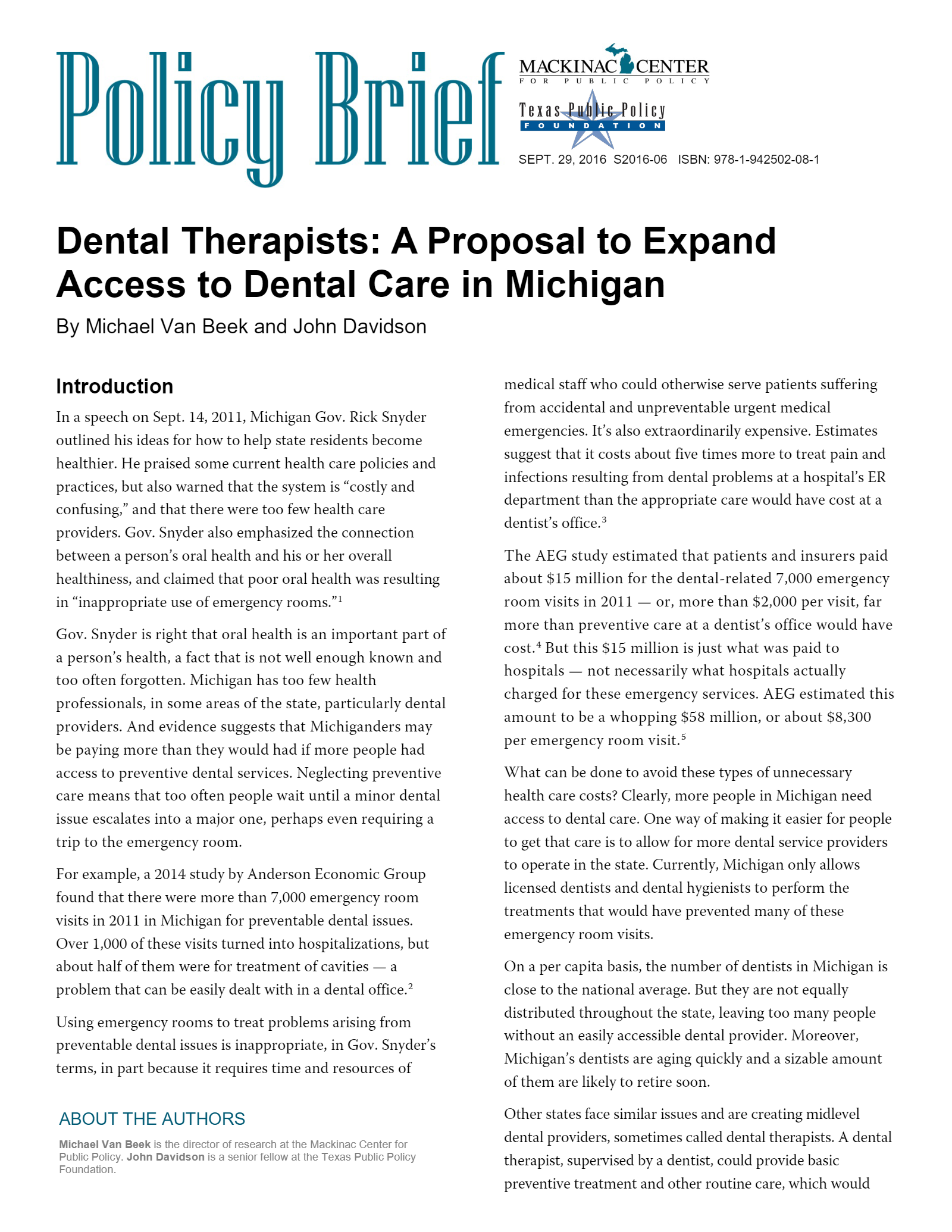 Dental Therapists: A Proposal to Expand Access to Dental Care in