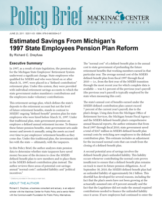 Estimated Savings From Michigan's 1997 State Employees Pension Plan Reform