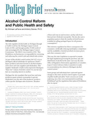 Alcohol Control Reform  and Public Health and Safety