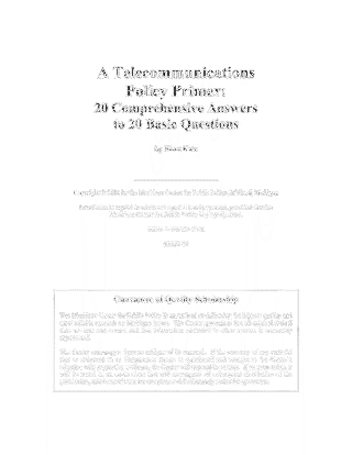 A Telecommunications Policy Primer