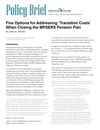 Five Options for Addressing  'Transition Costs' When Closing  the MPSERS Pension Plan