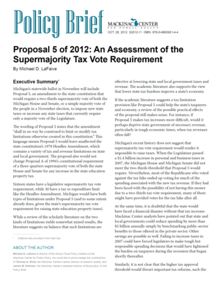 Proposal 5 of 2012: An Assessment of the 