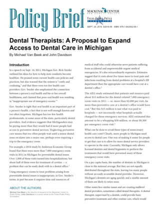 Dental Therapists: A Proposal to Expand Access to Dental Care in Michigan
