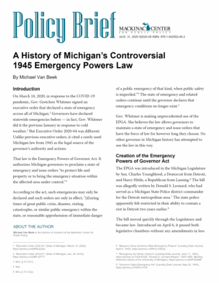 A History of Michigan's Controversial 1945 Emergency Powers Law