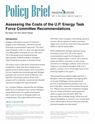 Assessing the Costs of the U.P. Energy Task Force Committee Recommendations