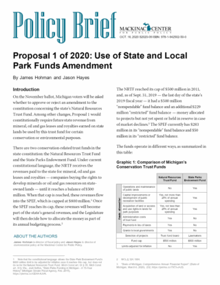 Proposal 1 of 2020: Use of State and Local Park Funds Amendment