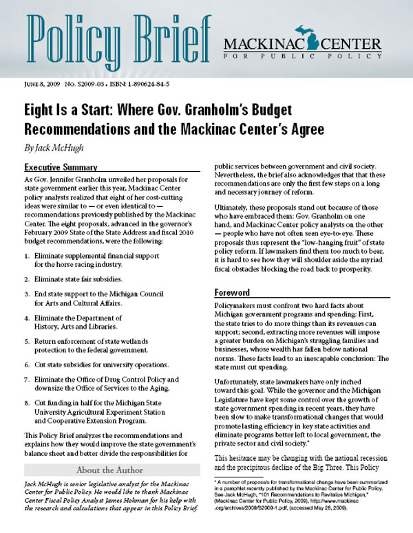 "Images from ""Eight Is a Start: Where Gov. Granholm's Budget Recommendations and the Mackinac Center's Agree"""