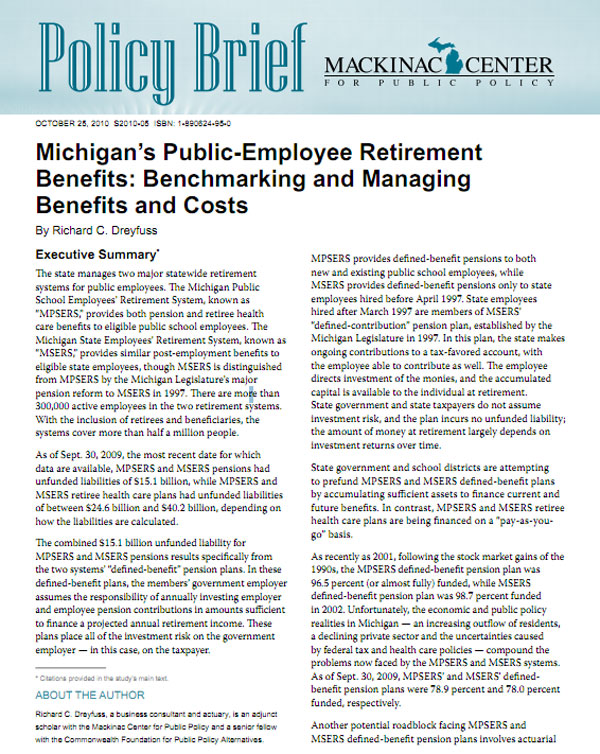 "Images from ""Michigan's Public-Employee Retirement Benefits: Benchmarking and Managing Benefits and Costs"""
