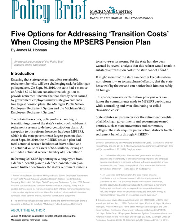 "Images from ""Five Options for Addressing  'Transition Costs' When Closing  the MPSERS Pension Plan"""