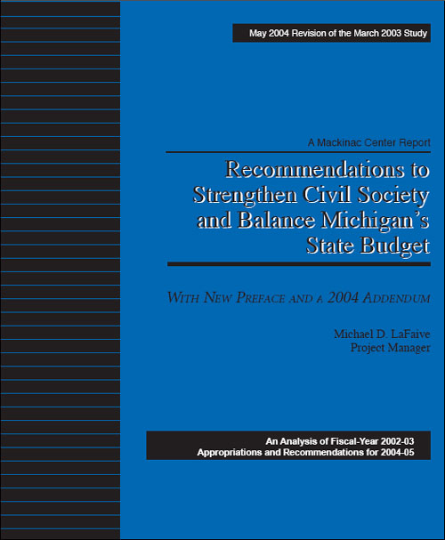"Images from ""Recommendations to Strengthen Civil Society and Balance Michigan's State Budget — 2nd Edition """
