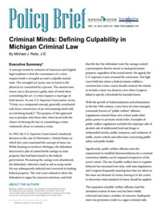 Criminal Minds: Defining Culpability in Michigan Criminal Law