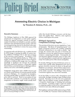 Assessing Electric Choice in Michigan