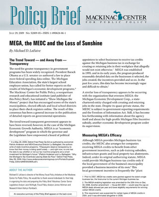 MEGA, the MEDC and the Loss of Sunshine
